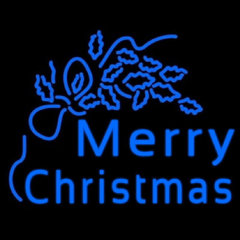 Blue Merry Christmas Neontábla