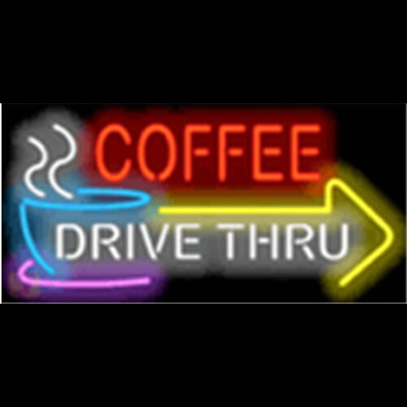 Coffee Drive Thru with Right Arrow Neontábla