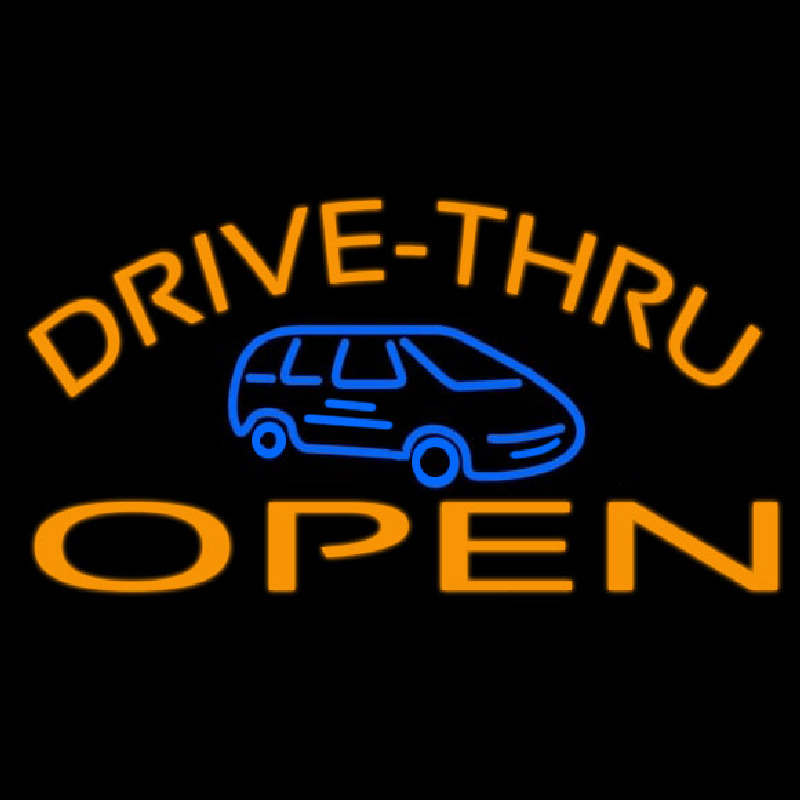 Drive Thru Open With Car Neontábla