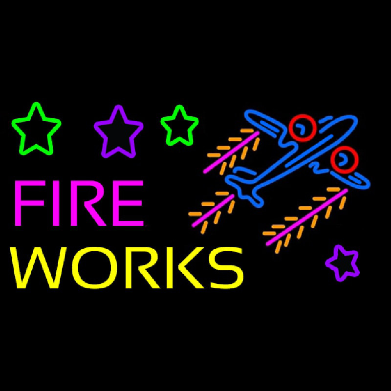 Fire Work Cartoon Logo 2 Neontábla