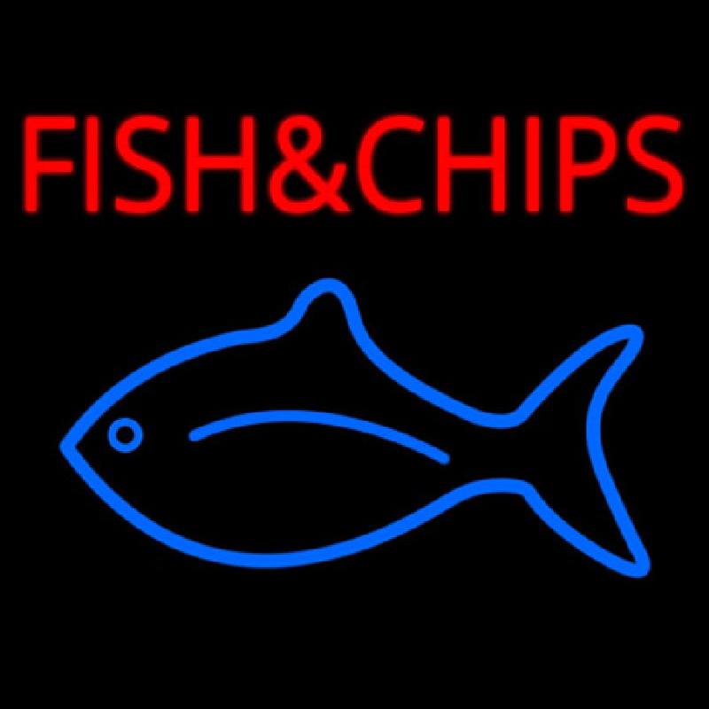 Fish And Chips With Fish Logo  Neontábla