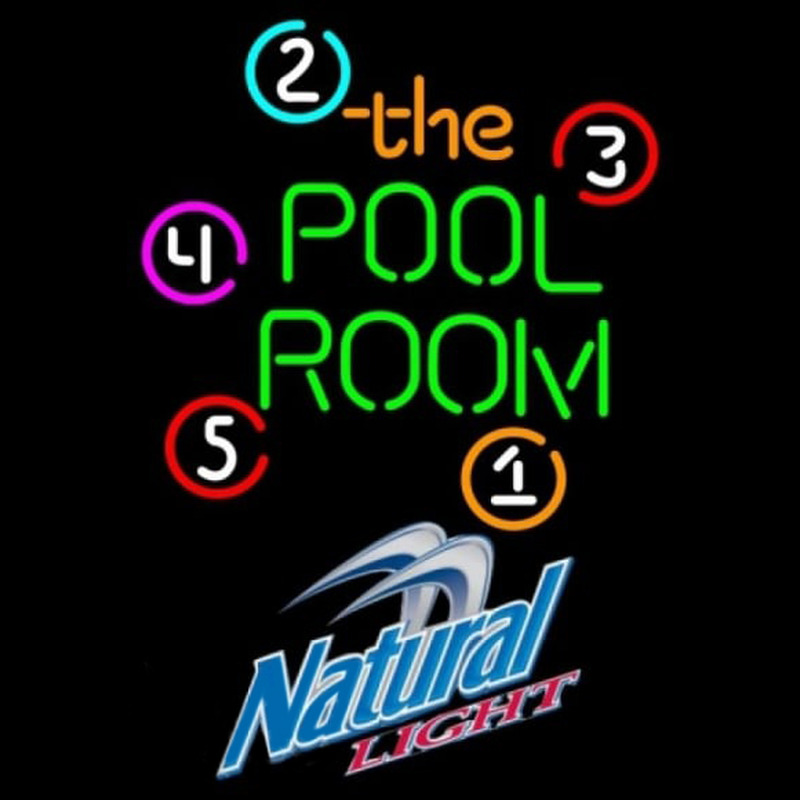Natural Light Pool Room Billiards Beer Sign Neontábla