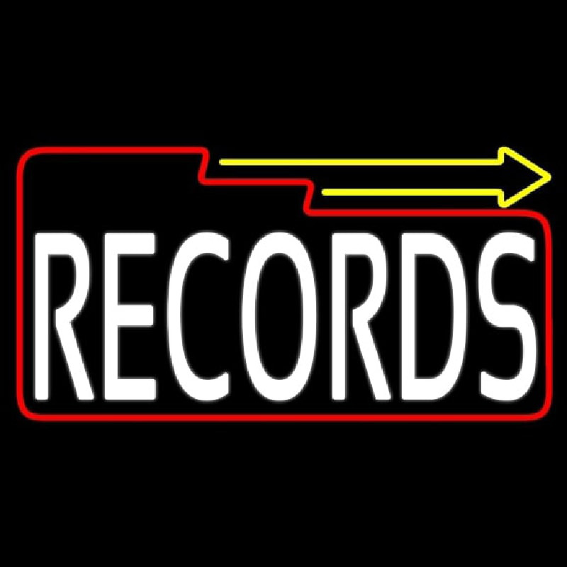 White Records Block With Arrow 2 Neontábla