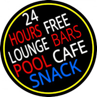 24 Hours Free Lounge Bars Pool Cafe Snack Oval With Border Neontábla