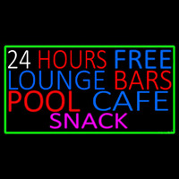 24 Hours Free Lounge Bars Pool Cafe Snack With Green Border Neontábla