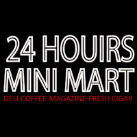 24 Hours Mini Mart Neontábla