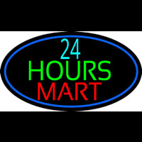 24 Hours Mini Mart With Blue Round Neontábla