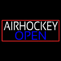 Air Hockey Open With Red Border Real Neon Glass Tube Neontábla