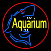 Aquarium Shark Logo Red Circle Neontábla