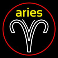 Aries Yellow Zodiac Border Red Neontábla