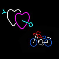 Bike With Heart Logo Neontábla
