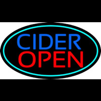 Blue Cider Open With Turquoise Oval Neontábla