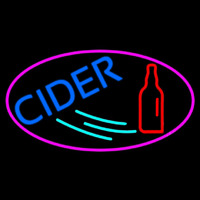 Blue Cider With Pink Oval Neontábla