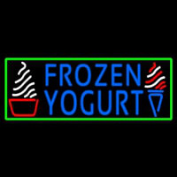 Blue Frozen Yogurt With Green Border Logo Neontábla