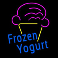 Blue Frozen Yogurt With Logo Neontábla