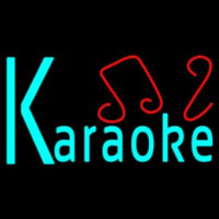Blue Karaoke Red Musical Note Neontábla
