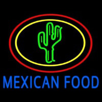 Blue Mexican Food With Cactus Logo Neontábla