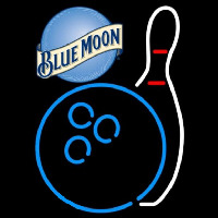 Blue Moon Bowling Blue White Beer Sign Neontábla