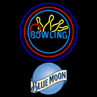Blue Moon Bowling Yellow Blue Beer Sign Neontábla
