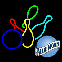 Blue Moon Colored Bowlings Beer Sign Neontábla