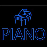 Blue Piano With Logo Neontábla