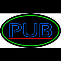 Blue Pub Oval With Green Border Neontábla