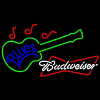 Budweiser White Blues Guitar Beer Sign Neontábla