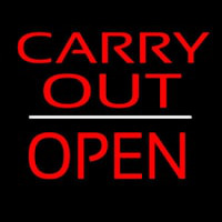Carry Out Block Open White Line Neontábla