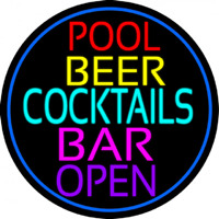 Cocktails Pool Beer Bar Open Neontábla