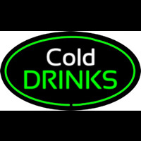 Cold Drinks Oval Green Neontábla