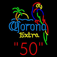 Corona E tra Parrot with Palm 50 Beer Sign Neontábla