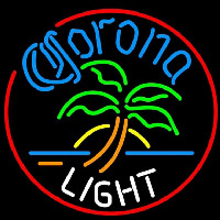 Corona Light Circle Palm Tree Beer Sign Neontábla