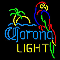 Corona Light Parrot with Palm Beer Sign Neontábla