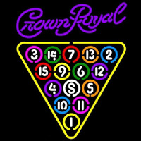 Crown Royal 15 Ball Billiards Pool Beer Sign Neontábla