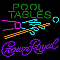 Crown Royal Pool Tables Billiards Beer Sign Neontábla