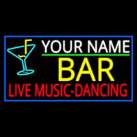 Custom Red Live Music Dancing Yellow Bar And Blue Border Neontábla