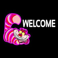 Custom Welcome With Smiley Cat 1 Neontábla