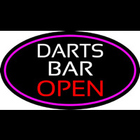 Dart Bar Open Oval With Pink Border Neontábla