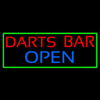 Dart Bar Open With Green Border Neontábla