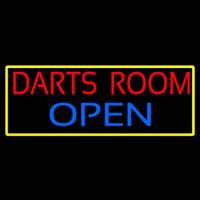 Darts Room Open With Yellow Border Neontábla