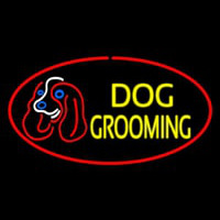 Dog Grooming Red Oval Neontábla