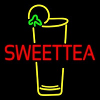 Double Stroke Sweet Tea With Glass Neontábla