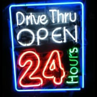 Drive Thru Open 24 Hours Noneon Sign Neontábla