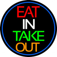 Eat In Take Out Oval With Blue Border Neontábla