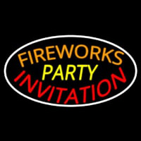 Fireworks Party Invitation In A Neontábla
