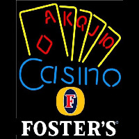 Fosters Poker Casino Ace Series Beer Sign Neontábla