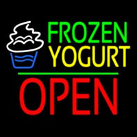 Frozen Yogurt Block Open Green Line Neontábla