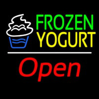 Frozen Yogurt Open White Line Neontábla