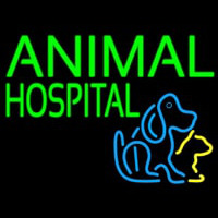 Green Animal Hospital Dog Logo Neontábla