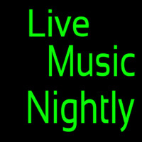 Green Live Music Nightly Block Neontábla